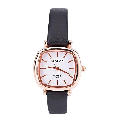 Relojes para las mujeres, pequeño reloj cuadrado cuarzo Retro reloj PU banda de muñecas de