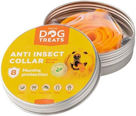 Natural Dog Treats Collier Anti-Puces et Anti-Tiques pour Chien, Chat, Ajustable Imperméable 8 Mois Protection Efficace