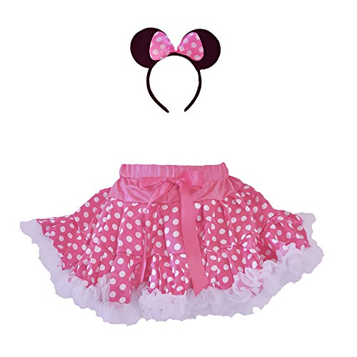 Halloween Mouse Costumes Polka Dot Tutu Ruffle Trim with Headband 2 PCs Set (Small Age 1-2, Hot Pink-White) ()