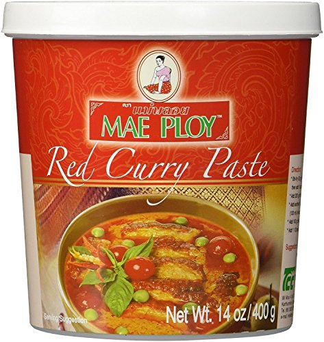 Thai Red Curry Paste 14 oz Jar By Mae Ploy - Red Paste