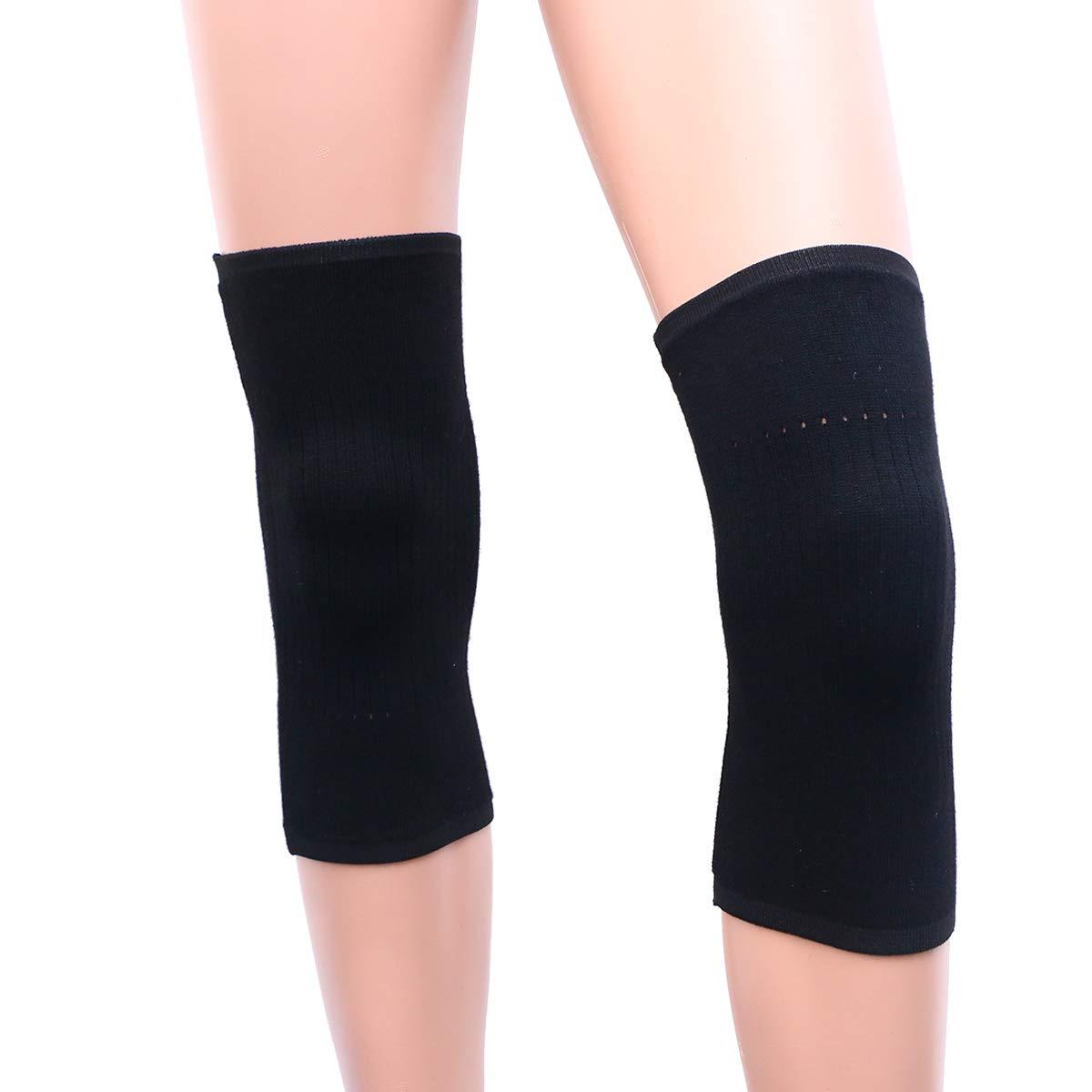Healifty 2pcs Lana Rodillas Soporte Protector de Rodillera Mantener Caliente En invierno para dolor de rodillas Artritis Correr Trotar(Negro M)