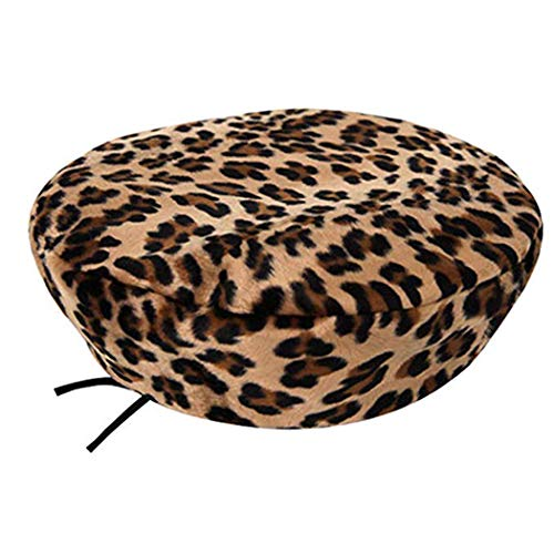 Leopard Beret for Women Cheetah Leopard Print False Fur French Beret Hats for Women Leopard Print Winter Warm Beret Beanie Cap Khaki