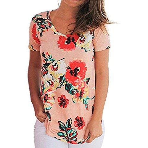 Women Short Sleeve Flower Printed Blouse Casual Tops T Shirt L