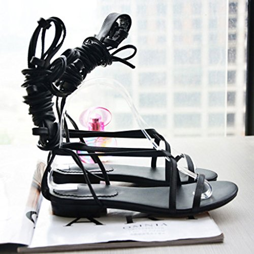 Romaines Black Mouton Plates Rivet Attachées Dorées Sandals Chaussures Peau Wrappings Leg Sangles Winding D'été De RqFER0OwU
