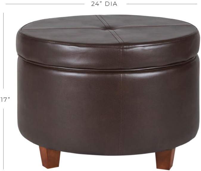 CorLiving LAD-103-O Antonio Storage Ottoman in Bonded Leather Black