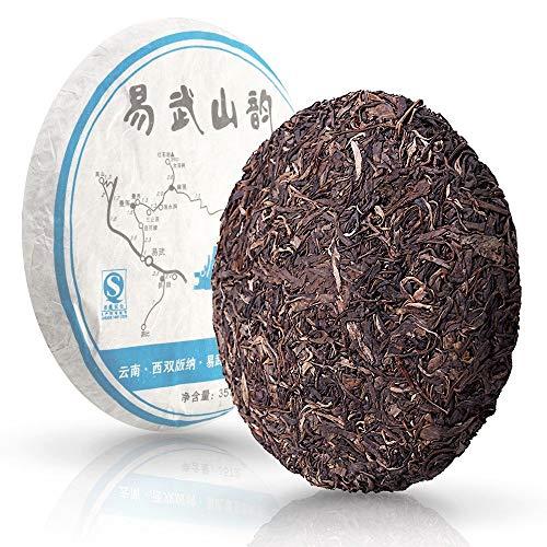 Pu erh Unfermented Green Tea Cake «Melody of Yiwu Mountain» - Yunnan Chinese Aged Raw Pu-erh Green Tea Loose Leaf - Natural Detox Sheng Puerh with Caffeine for Weight Loss - 2010 year, 12.6oz./ 357g.