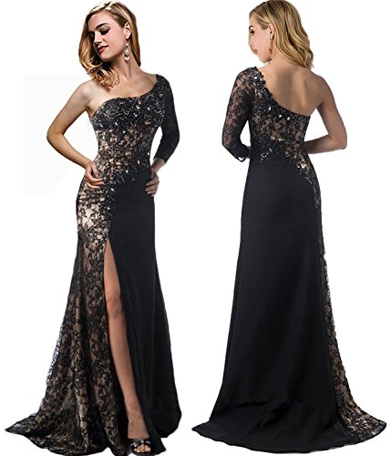 Rong Store Evening Dresses One Shoulder Long Sleeve Side Split Prom Party Gowns, Black, 14