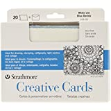 "Strathmore Cards & Envelopes 5""X6.875"" 20/Pkg-White W/Blue Deckle"