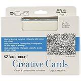 Pro-Art Strathmore tarjetas y sobres, 12,7 cm x 17,46 cm, blanco con azul Deckle, Pack de 20