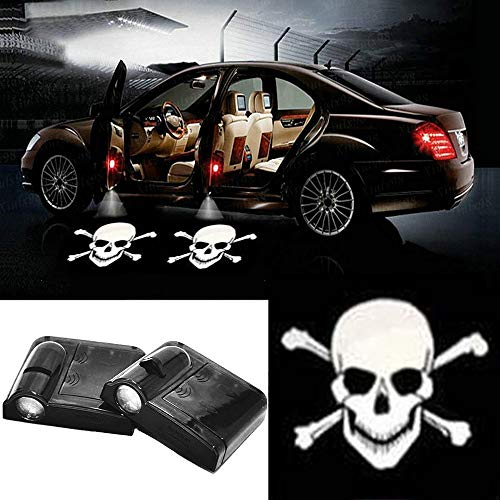2pc Wireless Drill Free Easy Install Car Door LED Projector Courtesy Welcome Logo Ghost Shadow Light Magnet Sensor for JEEP H-ONDA GMC Skull Toyota all Car (Skull Punisher)