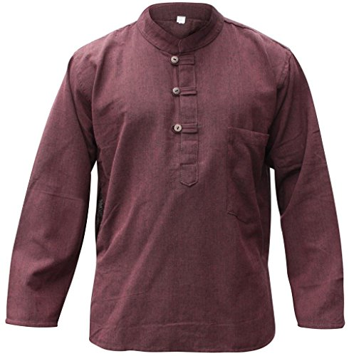 Shopoholic Fashion Mens Plain Hemp Collarless Grandad Shirt Full Sleeved Hippie Summer Light Tops[L,Brown]