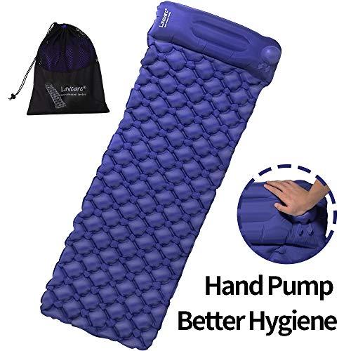 Lavcare Hand Press Inflatable Sleeping pad, Ultralight Sleeping Pad, Built-in Hand-Press Pump& Head Support, Waterproof, Nylon Elastic TPU Fabric,Camping Pad, Sleeping Mat