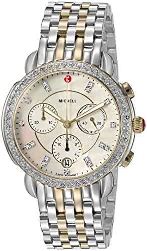 MICHELE Women's 'Sidney' Swiss Quartz Stainless Steel Casual Watch, Color:Two Tone (Model: MWW30A000005)