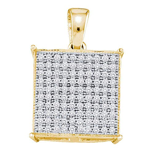FB Jewels 10kt Yellow Gold Womens Round Pave-set Diamond Square Cluster Pendant 1/3 Cttw (I2-I3 clarity; J-K color) (Pave Set Round Diamond Pendant)