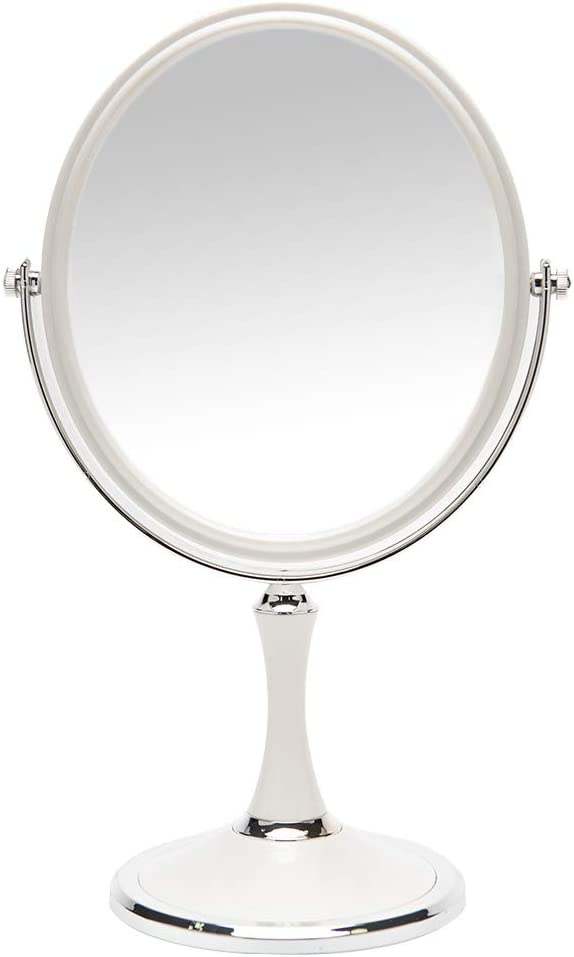 YEAKE Magnifying Makeup Vanity Mirror, 8-inch ABS Plastic Double Sided Swivel Vanity Mirror Retro Make Up Mirror with 3X Magnification Stand for Tabletop Desk Gifts(Oval)
