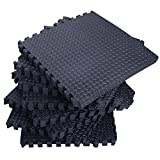 42 Tiles 168 Sq Ft Interlocking EVA Foam Floor Mat Set | Gymnastics Exercises Flooring Gym Playground Mat | Black
