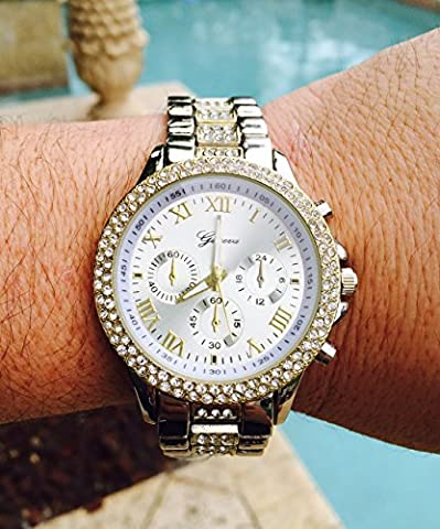 Hip Hop Iced Out Two-Tone Gold & Silver Men's Geneva Cz Cucic Zirconia Studded Watch (Geneva Watches Men Gold)