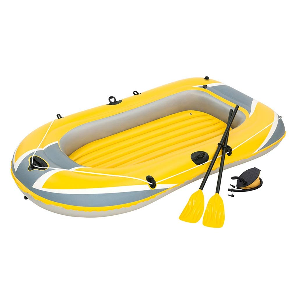 Durability Inflatable Kayaks Durable Triple Thick Inflatable Boat Dinghy Kayaking Leather Boat Hovercraft Double Inflatable Assault Boat/Yellow (Color : Yellow, Size : 228x121cm) by BoeWan