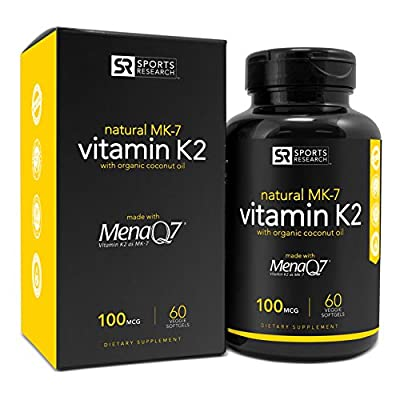 Vitamin K2 (MK7) with Organic Virgin Coconut Oil and MenaQ7, 100mcg, 60 Veggie Liquid Softgels