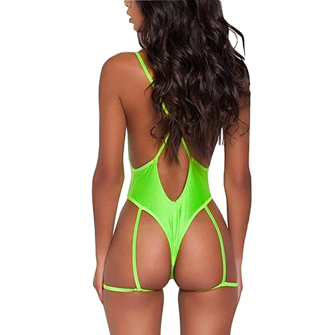 8898b64b06afd Women Deep V Neck Sexy Garter Belt Bikinis Cross Bandage on Back One Piece Swimsuit  Swimwear at Amazon Women's Clothing store: