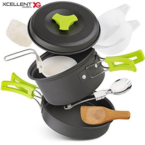 Xcellent Global Camping Cookware Set, Hiking Camping Backpacking Cook Mess 10pcs Kit, Camping Pot Pan Set Carrying with Nylon Bag CP004