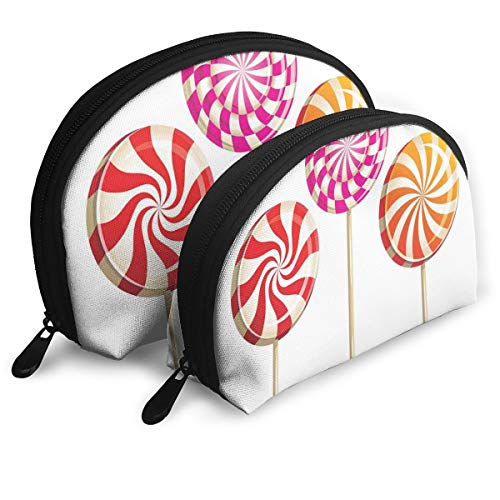 Shell Shape Makeup Bag Set Portable Purse Travel Cosmetic Pouch,Realistic Sugary Treats On Sticks Spiral Round Lolly Pops Delicious Tasty Snacks,Women Toiletry Clutch ()