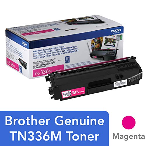 - Brother Genuine High Yield Toner Cartridge, TN336M, Replacement Magenta Toner, Page Yield Up To 3,500 Pages, Amazon Dash Replenishment Cartridge, TN336