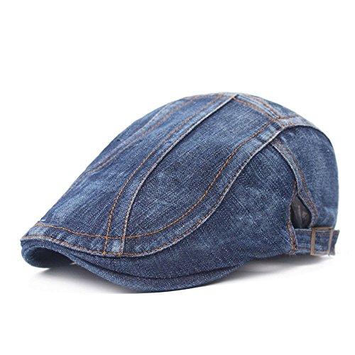 Sunflyfashion Men Blue Denim Peaked Ivy Cap Golf Driving Flat Cabbie Newsboy Beret Hat (Stripe-Dark - Ivy Denim Cap