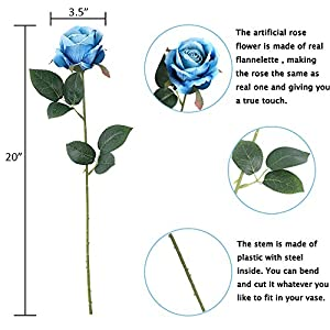 Louiesya Artificial Flowers Fake Flowers Bouquet Silk Roses Real Touch for Home Garden Party Floral Decor 6 Pcs Bridal Wedding Bouquet(Blue) 5
