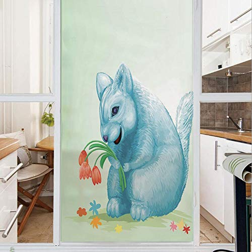 Decorative Window Film,No Glue Frosted Privacy Film,Stained Glass Door Film,Dear Blue Mouse with Tulip Bouquet Caricature Hamster Chinchilla Mascot Rodent Toy,for Home & Office,23.6In. by 47.2In Multi