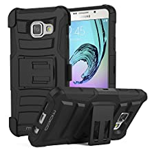 """Galaxy A3 Case, MoKo Shock Absorbing Hard Cover Ultra Protective Heavy Duty Case with Holster Belt Clip + Built-in Kickstand for Samsung Galaxy A3 4.7"""" (2016) - Black (NOT FIT Galaxy A3 4.5"""" 2015)"""