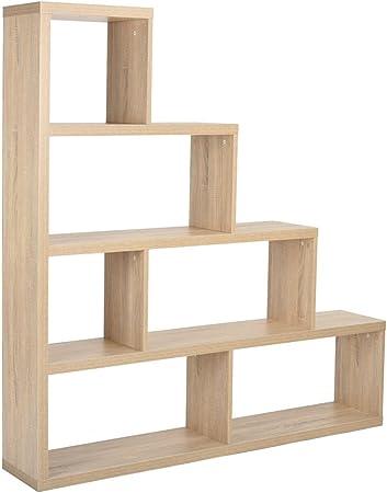 FurnitureR pantalla 6 estantes de almacenamiento de estantería de madera Escalera Forma Habitación Divisor estantería armario Gabinete Muebles de oficina en casa: Amazon.es: Hogar