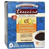 2 Packs of Teeccino Organic Herbal Coffee - Dandelion Caramel Nut - 10 Bags - Case Of 6