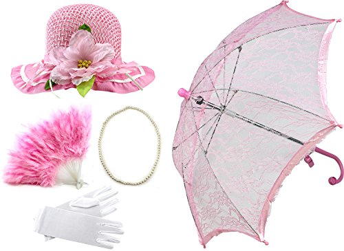 [Enimay Girl's Costume Tea Party Set Fan Hat Necklace Umbrella Gloves Light Pink] (Fan Costumes)
