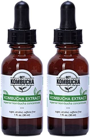 Best Kombucha Tea Extract -All Natural Organic Formula by GetKombucha – 4 Month Supply Sugar, Caffeine Alcohol Free Two Bottles TSA Travel Approved – Improve Digestion for Women, Men, and Kids