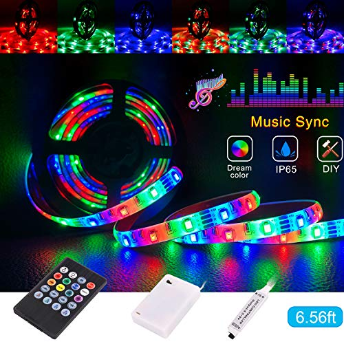 Led Strip Lights Battery Powered,Tenmiro Sync to Music Color Changing Waterproof Strip Light with 20-Key Remote Controller,6.56 ft/2m 5V Battery Case,SMD 3528 60 LEDs,DIY Outdoor Party Romantic Light