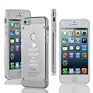 Apple iPhone 4 4s Ultra Thin Transparent Clear Hard TPU Case Cover Keep Calm and Be A Ninja (White)