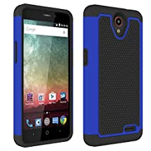 ZTE Prestige N9132 Case,ZTE Avid Plus Z828 Case,ZTE Maven 2 Z831 Case, ZTE Sonata 3 Z832 Case,ZTE Avid Trio Z833 Case,L00KLY [Drop Protection] [Shock Absorption] Hybrid Dual Layer Armor (Dark Blue)