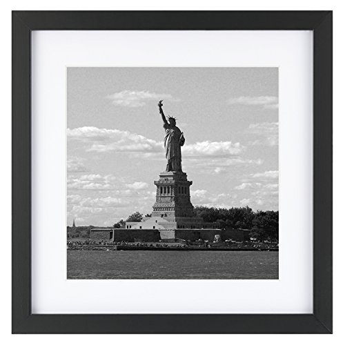 ONE WALL Tempered Glass 1PCS 11x11 Picture Frame with Mats for 8x8 Photo, Black Wood Frame for Wall and Tabletop - Mounting Hardware Included -
