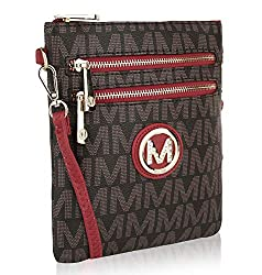 Mkf Crossbody Bag For Women Removable Adjustable Strap Vegan Leather Wristlet Designer Messenger Purse Red