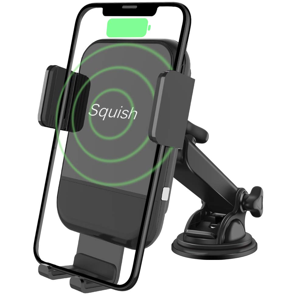 Squish Wireless Car Charger Mount, Auto-Clamping Qi Fast Wireless Charger Phone Holder for Car Dashboard Windshield for iPhone Xs Max/XS/XR/X/8Plus/8 and for Samsung S9/S9+/S8/S8+/Note9/Note8 & Other