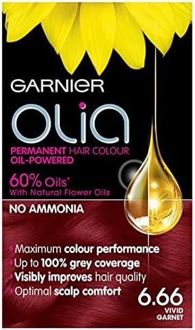 Tinte para el pelo Garnier, color granate vívido, Garnier Olia 6.66.