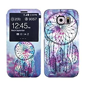 YULIN Colorful Feather Pattern Protective Full Body Case Cover Stand for Samsung Galaxy S6