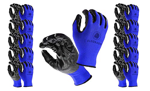 Eldorado Work Gloves, Nitrile Coated With Grip, Multipurpose Worker Gloves for Gardeners, Farmers, Mechanics, Constructions, Storekeepers, Size L, Colors: Blue/Black, 12 Pairs Pack.