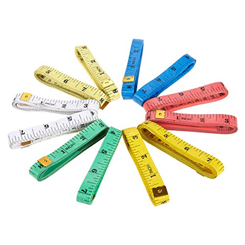 Soft Measuring Tapes - 12-Pack 60-Inch Tailor Tape Measures  Flexible Cloth Ruler for Sewing Tailor Body Measurement - Double Scale, 6 Assorted Colors, 60 Inches 150 Centimeters
