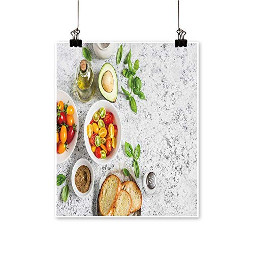 Single paintingredients for bruschetta Tomatoes Avocado Basil Olive Oil brea Office Decorations,28
