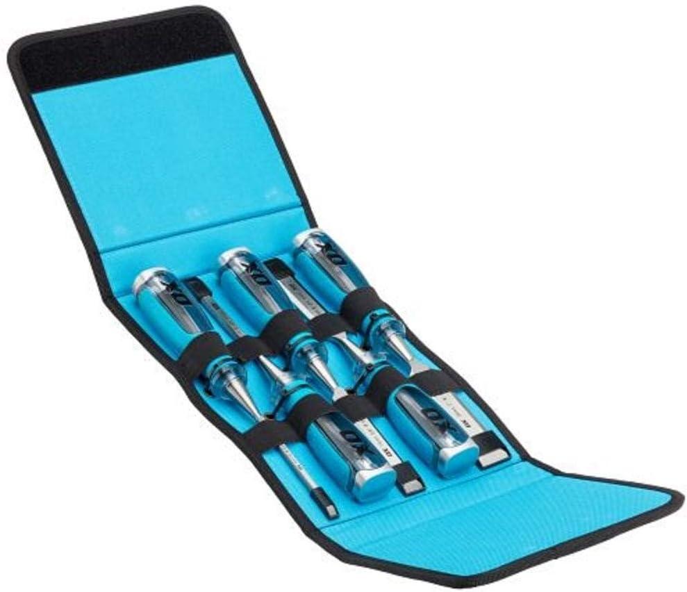 Ox Tools OX-P371005 Pro 5 pièces ciseau à bois Velcro Case Set