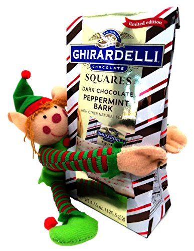 Holiday Gift Set Toy Elf and Ghirardelli Limited Edition Peppermint Bark Chocolate Bundle (Dark Chocolate)
