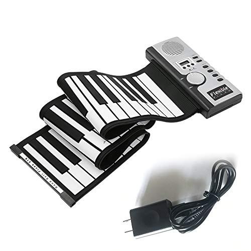 Bonni 61キー電子ピアノキーボードシリコンフレキシブルロールアップデジタルピアノ128トーン子供のためのおもちゃ学習初心者教育玩具