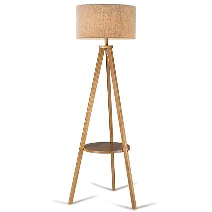 Lámpara de pie Lámpara de Madera Maciza Lámpara trípode ...